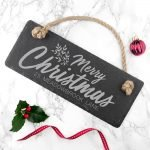 Personalised Hanging Slate Sign – Merry Christmas