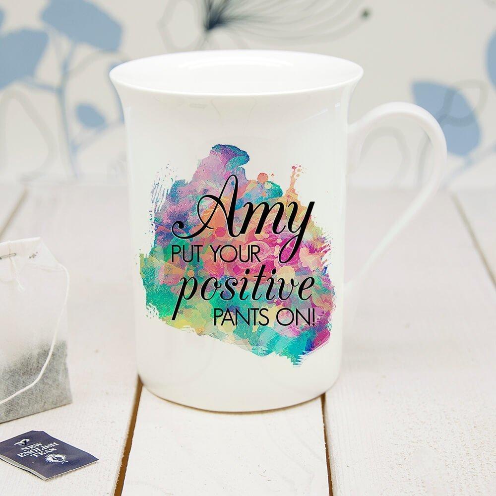 Personalised Positive Pants Bone China Mug