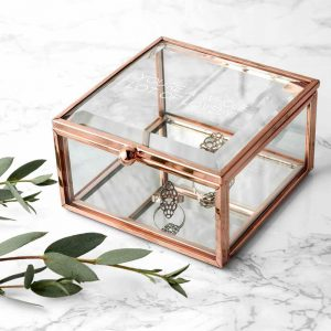 Personalised Rose Gold Glass Trinket Box – Your Message