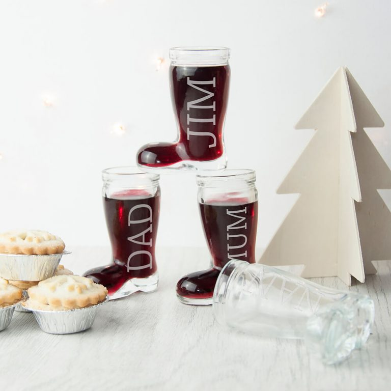 Personalised Cocktail Glass – Santa Boots (Set of 4)