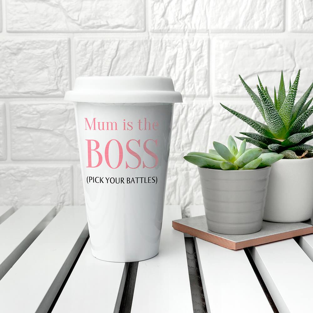 Personalised The Boss Ceramic Travel Mug