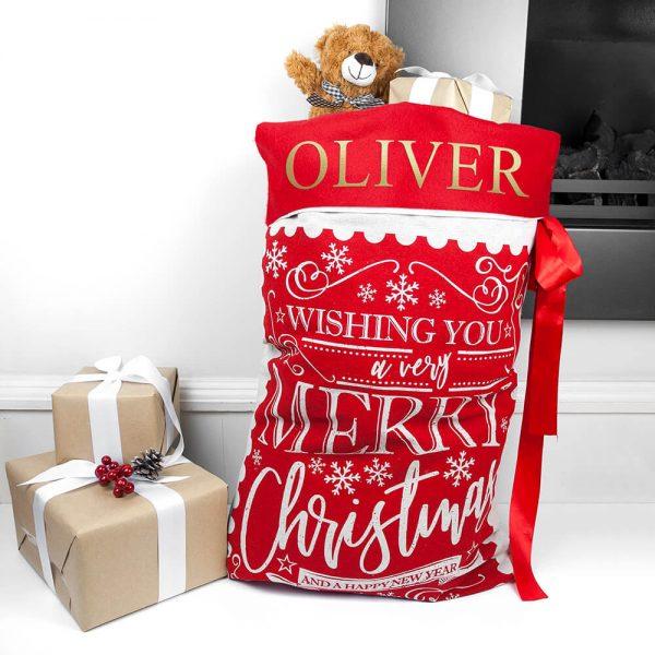 Personalised Traditional Christmas Santa Sack