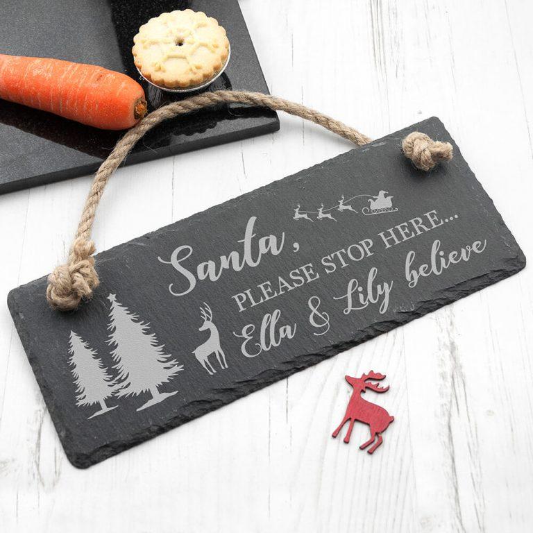 Personalised Hanging Slate Sign – Christmas (We Believe)