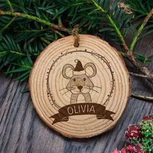 Personalised Woodland Mouse Christmas Tree Decoration