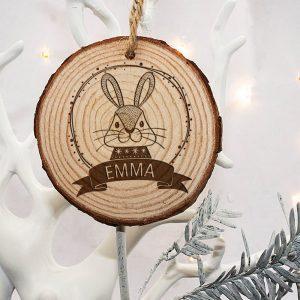 Personalised Woodland Rabbit Christmas Tree Decoration