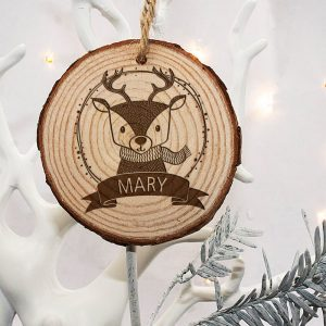 Personalised Woodland Reindeer Christmas Tree Decoration
