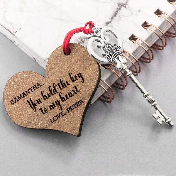 Personalised Wooden Key Ring – Key to my Heart