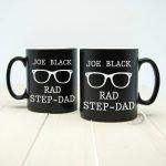 Personalised Rad Step Dad Black Matte Mug