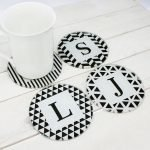 Personalised Black & White Coasters – Initials (Set of 4)