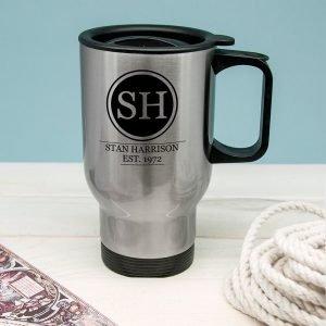 Personalised Silver Personalised Monogram Travel Mug