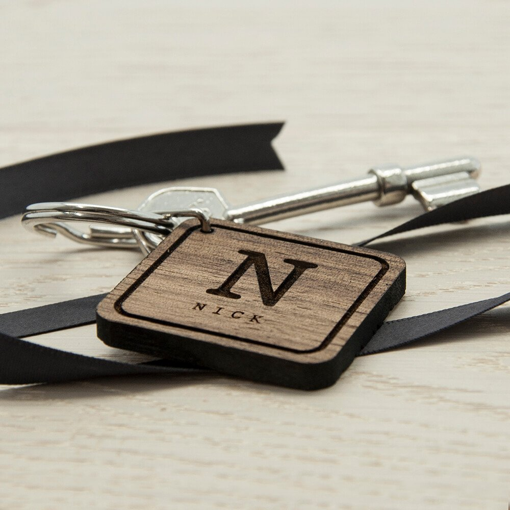 Personalised Wooden Key Ring – Initial & Name (Square)