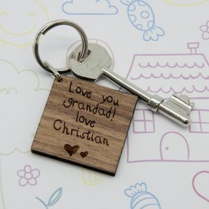 Personalised Wooden Key Ring – Square Key Ring (Kids Handwriting)