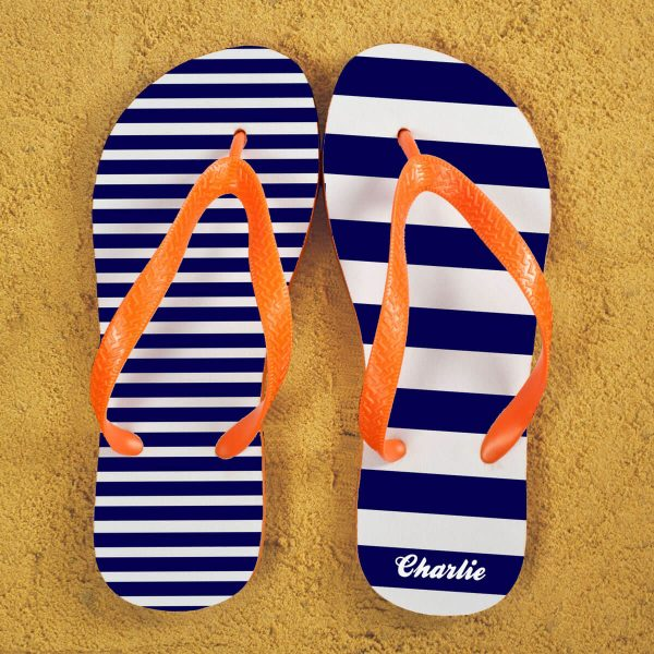 Personalised Adults Flip Flops (Blue & Orange) – Striped