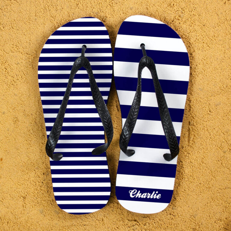 Personalised Adults Flip Flops (Blue) – Striped