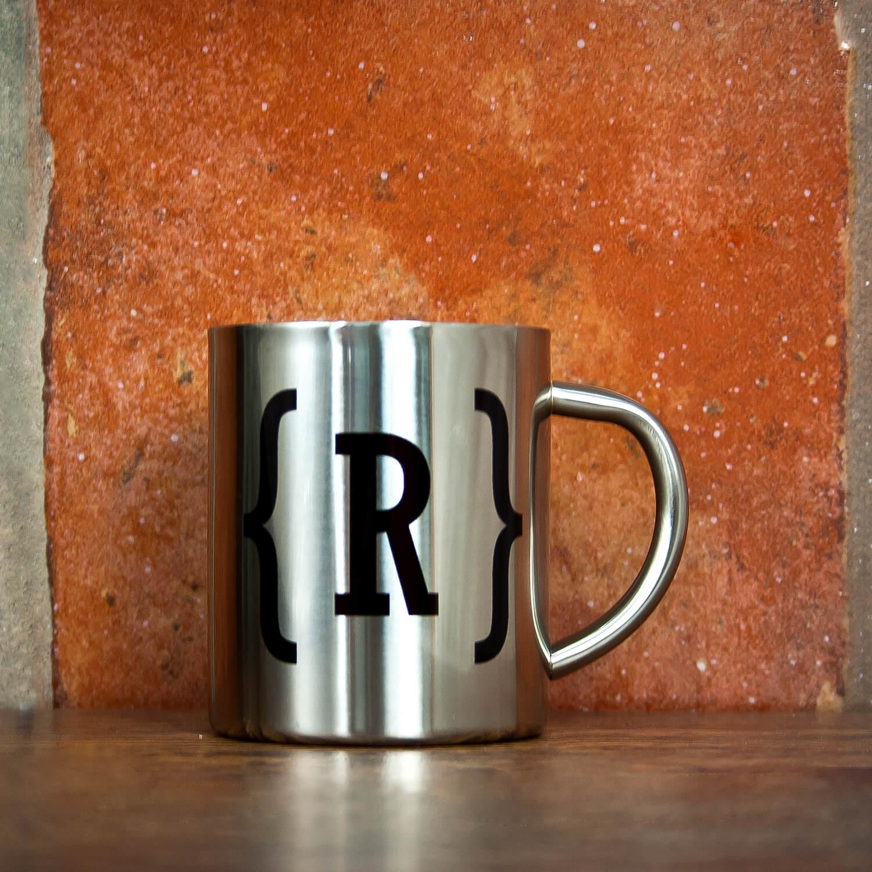 Personalised Monogram Swirl Bracket Silver Outdoor Mug