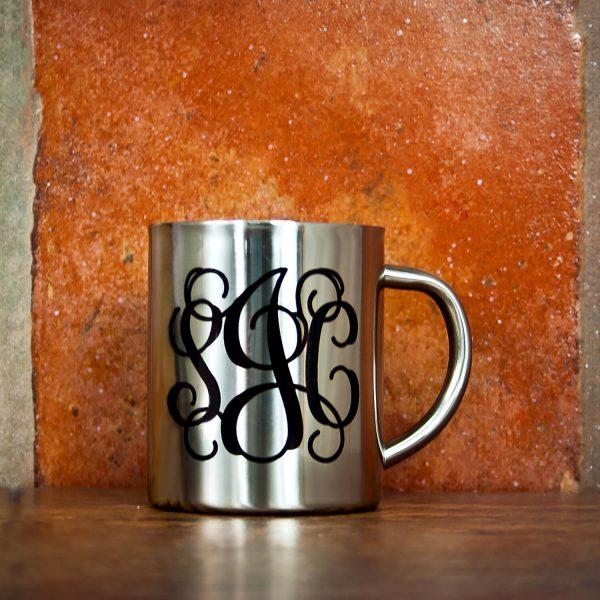 Personalised Vine Monogram Silver Outdoor Mug