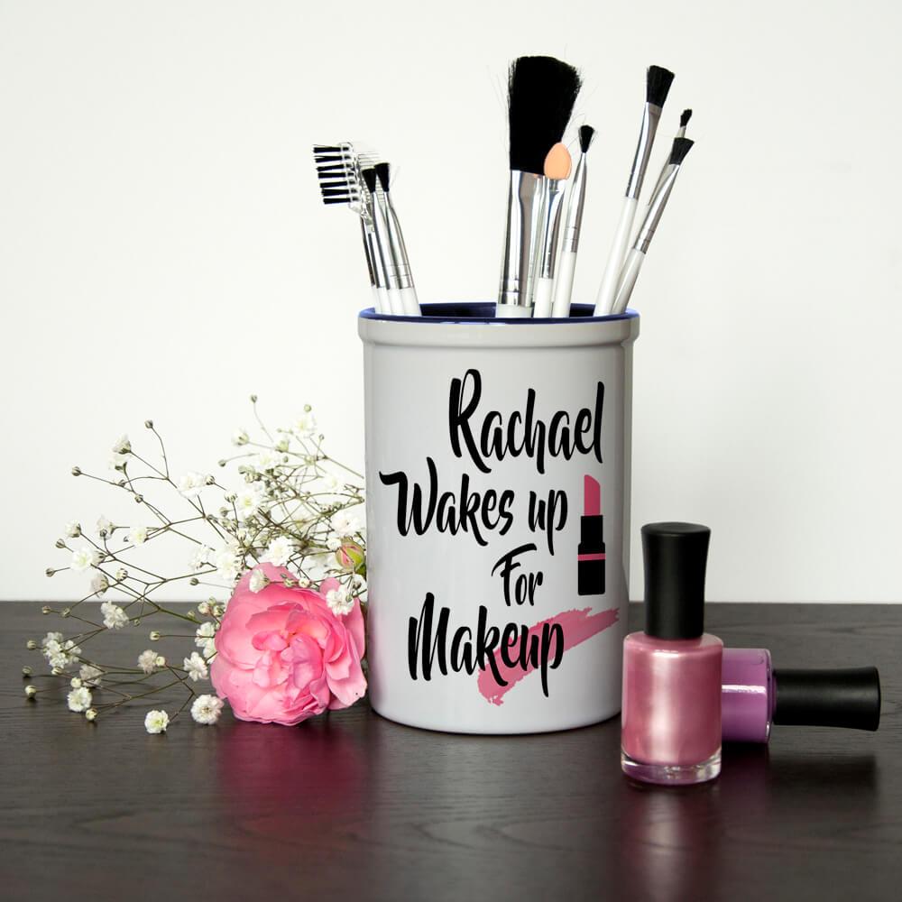 Personalised Make Up Brush Holder – Wake up for Makeup