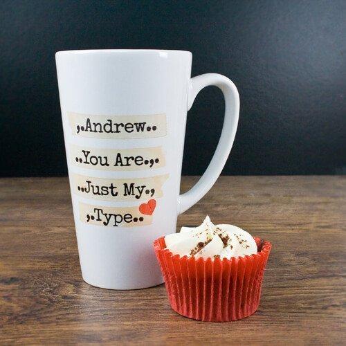 Personalised You're Just My Type Romantic Latte Mug