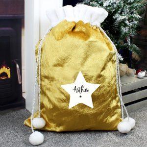 Personalised Star Luxury Pom Pom Gold Sack