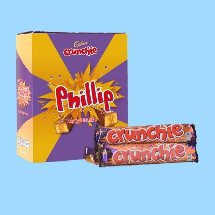 Personalised Box Of Cadbury Crunchie Chocolate Bars x20