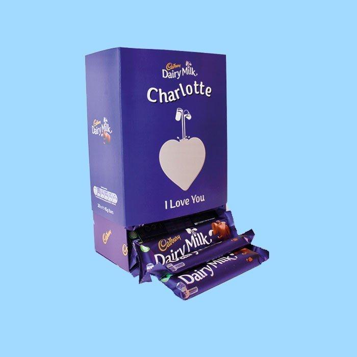 Personalised Box Of Cadbury Dairy Milk Chocolate Bars x20