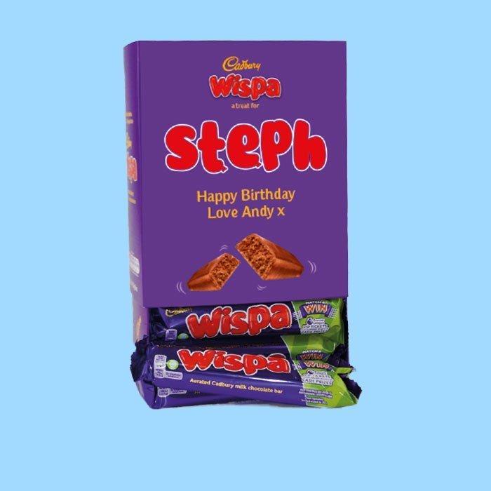 Personalised Box Of Cadbury Wispa Chocolate Bars x20