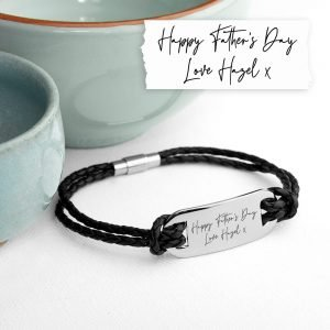 Personalised Mens Handwriting Leather Bracelet