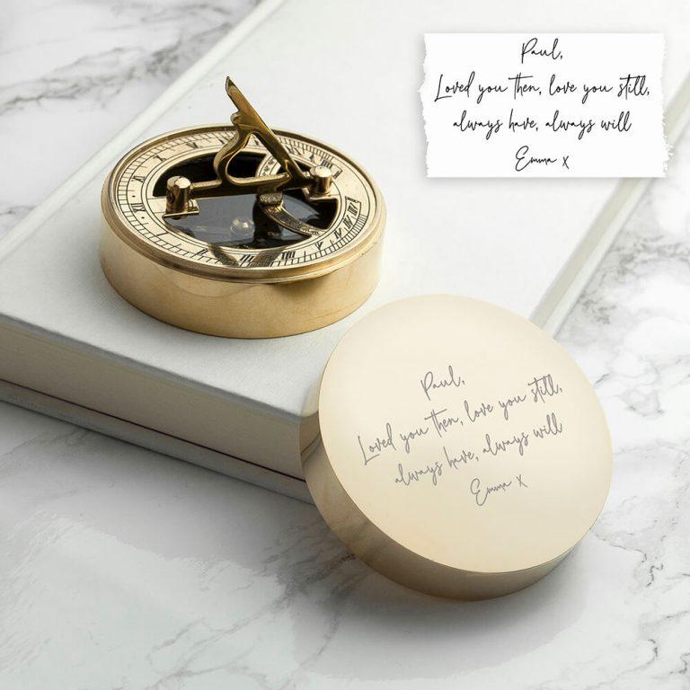Personalised Handwritten Sundial & Compass