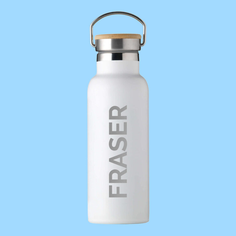 Personalised Insulated Drinks Bottle 500ml – White – Large Personalisation