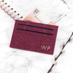 Personalised Natural VEGAN Leather Cork Card Holder – Burgundy