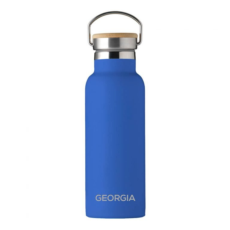 Personalised Insulated Drinks Bottle 500ml – Blue – Small Personalisation