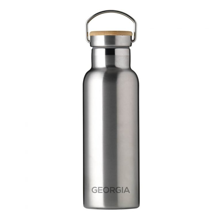 Personalised Insulated Drinks Bottle 500ml – Silver – Small Personalisation