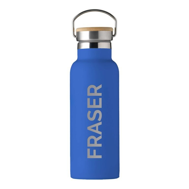Personalised Insulated Drinks Bottle 500ml – Blue – Large Personalisation