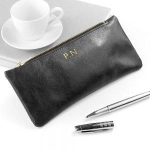 Personalised Luxury Leather Pencil Case – Black