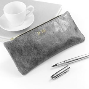 Personalised Luxury Leather Pencil Case – Grey