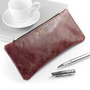 Personalised Luxury Leather Pencil Case – Burgundy