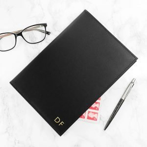Personalised Refillable Leather Notebook – Black
