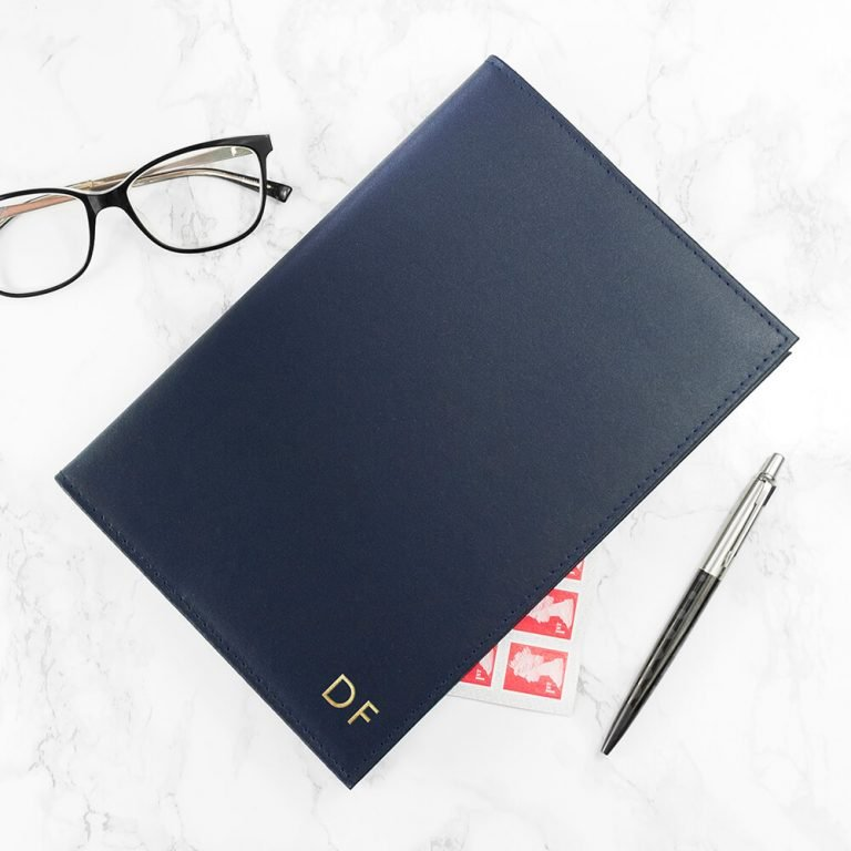 Personalised Refillable Leather Notebook – Navy