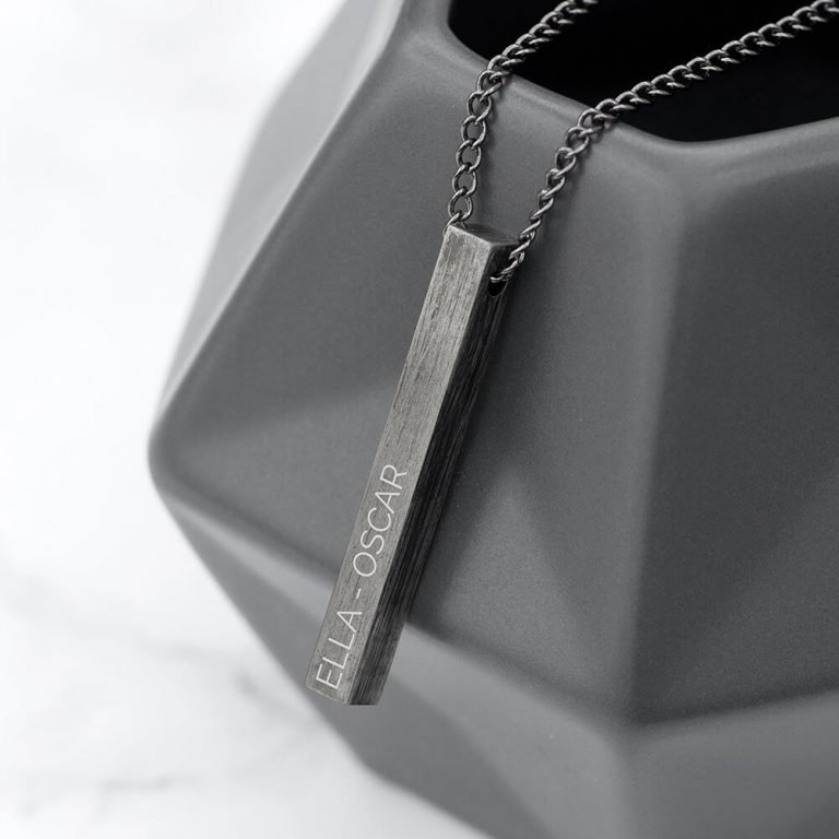 Personalised Mens Solid Bar Necklace – Brushed Gunmetal