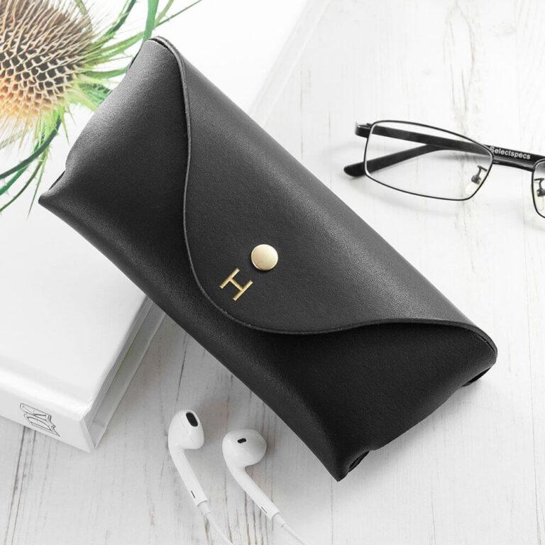 Personalised Luxury Leather Glasses Case – Black