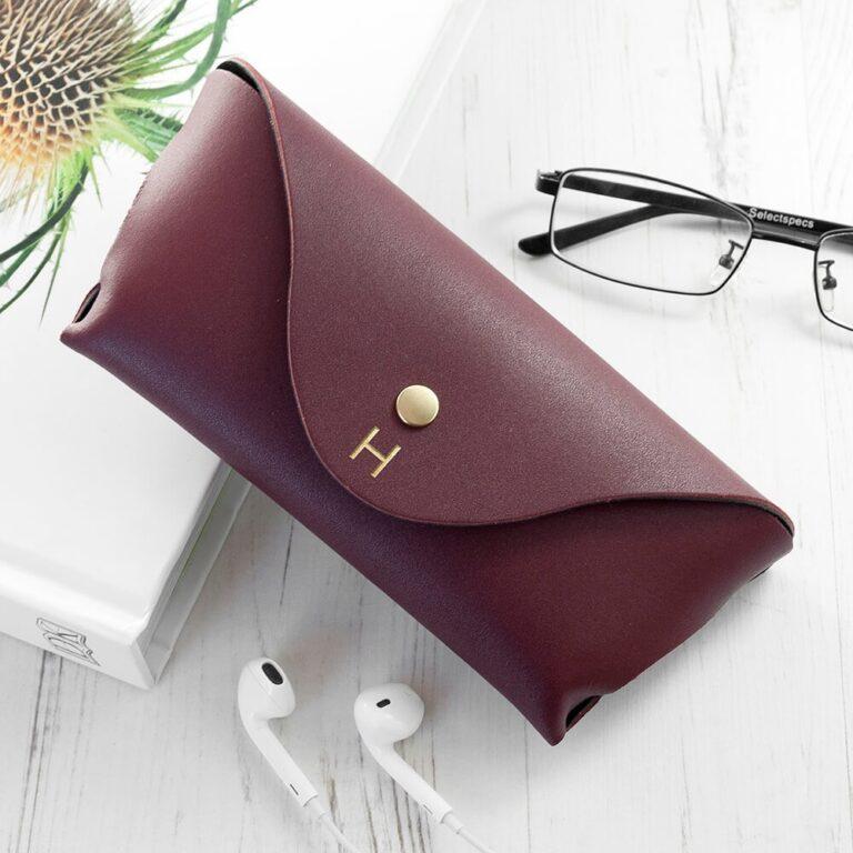 Personalised Luxury Leather Glasses Case – Burgundy