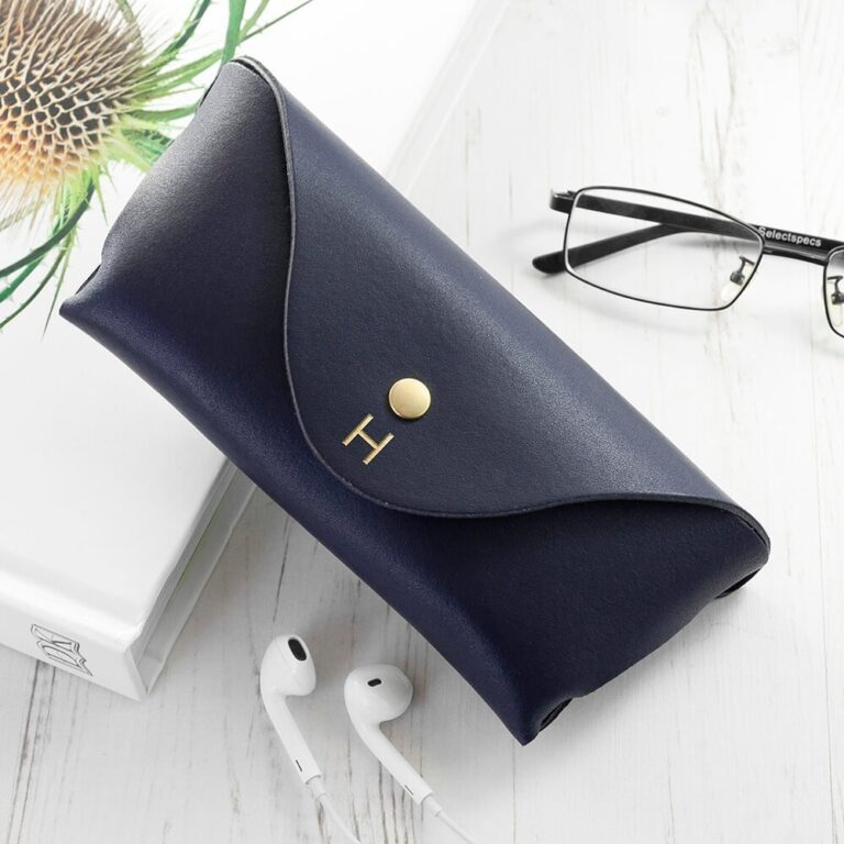 Personalised Luxury Leather Glasses Case – Navy