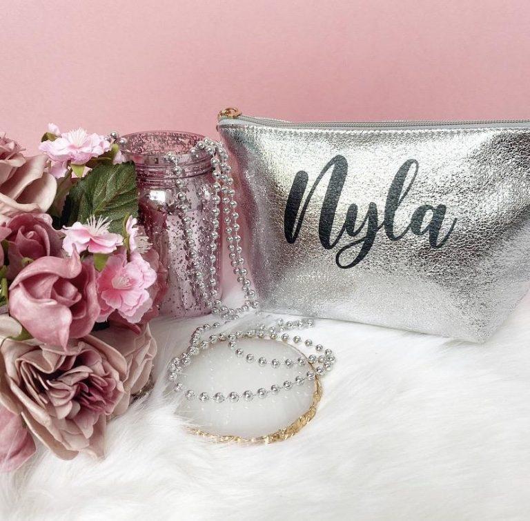 Personalised Shiny Make Up Bag – Silver