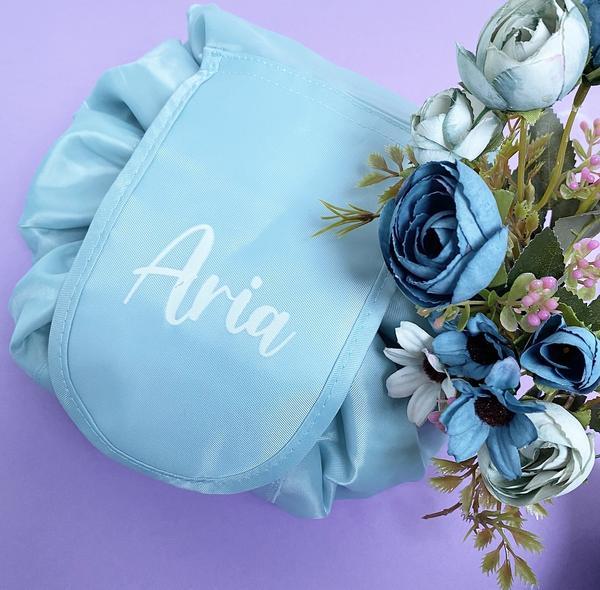 Personalised Drawstring Make Up Bag – Baby Blue