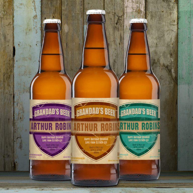 Personalised Beer 3 pack Granddad's Beer Set label