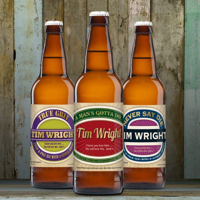 Personalised Beer 3 pack Man's Virtues Set label