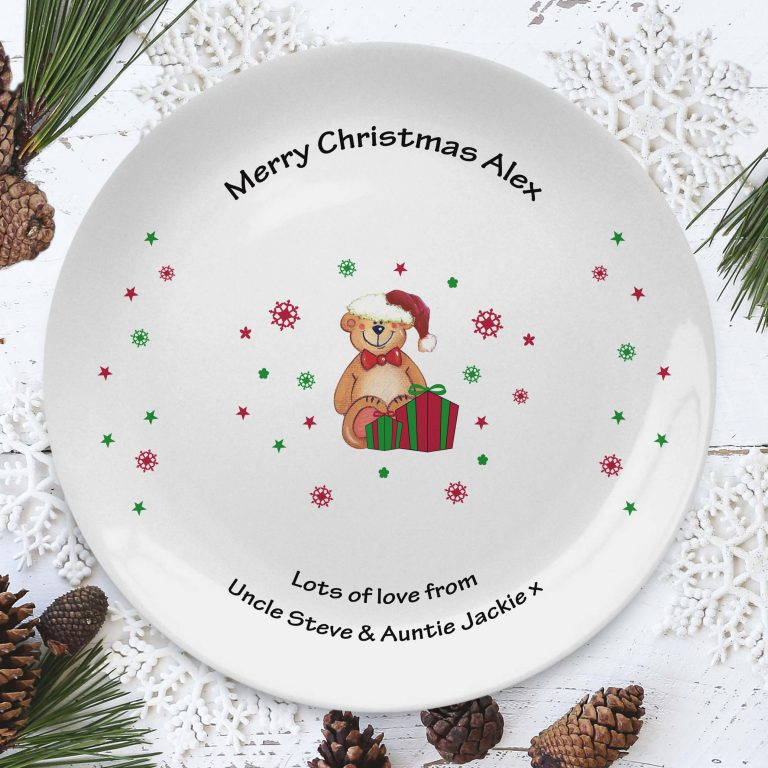 Personalised Christmas Teddy & Hat 8″ Coupe Plate