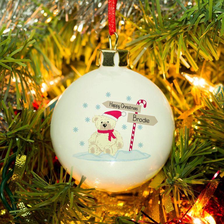 Personalised Candy Cane Christmas Bear Bone China Bauble
