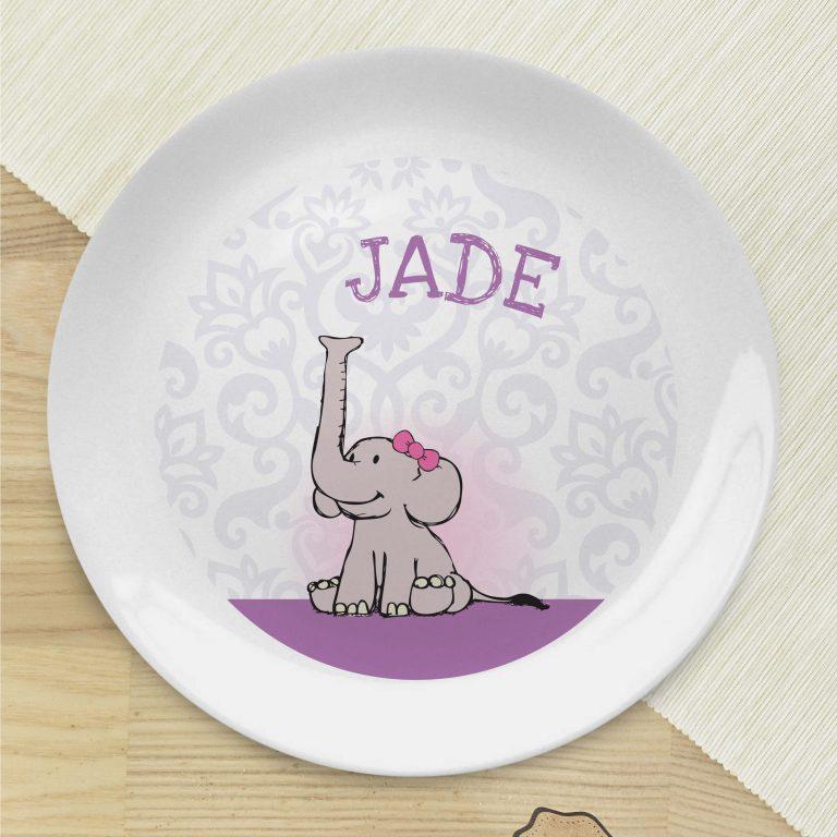Personalised Baby Girl Elephant  Bone China Coupe Plate