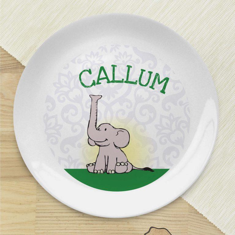 Personalised Baby Boy Elephant Bone China Coupe Plate